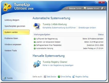 TuneUp Utilities 2008 - 1-Klick-Wartung