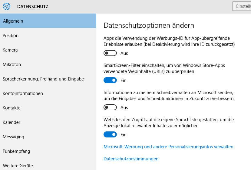 Schalter umlegen: Die Windows 10 Datenschutz-Optionen (Screenshot)