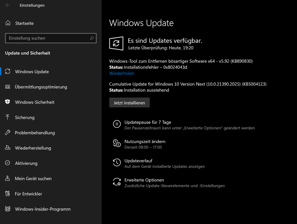 Verschiedene Windows Update Arten