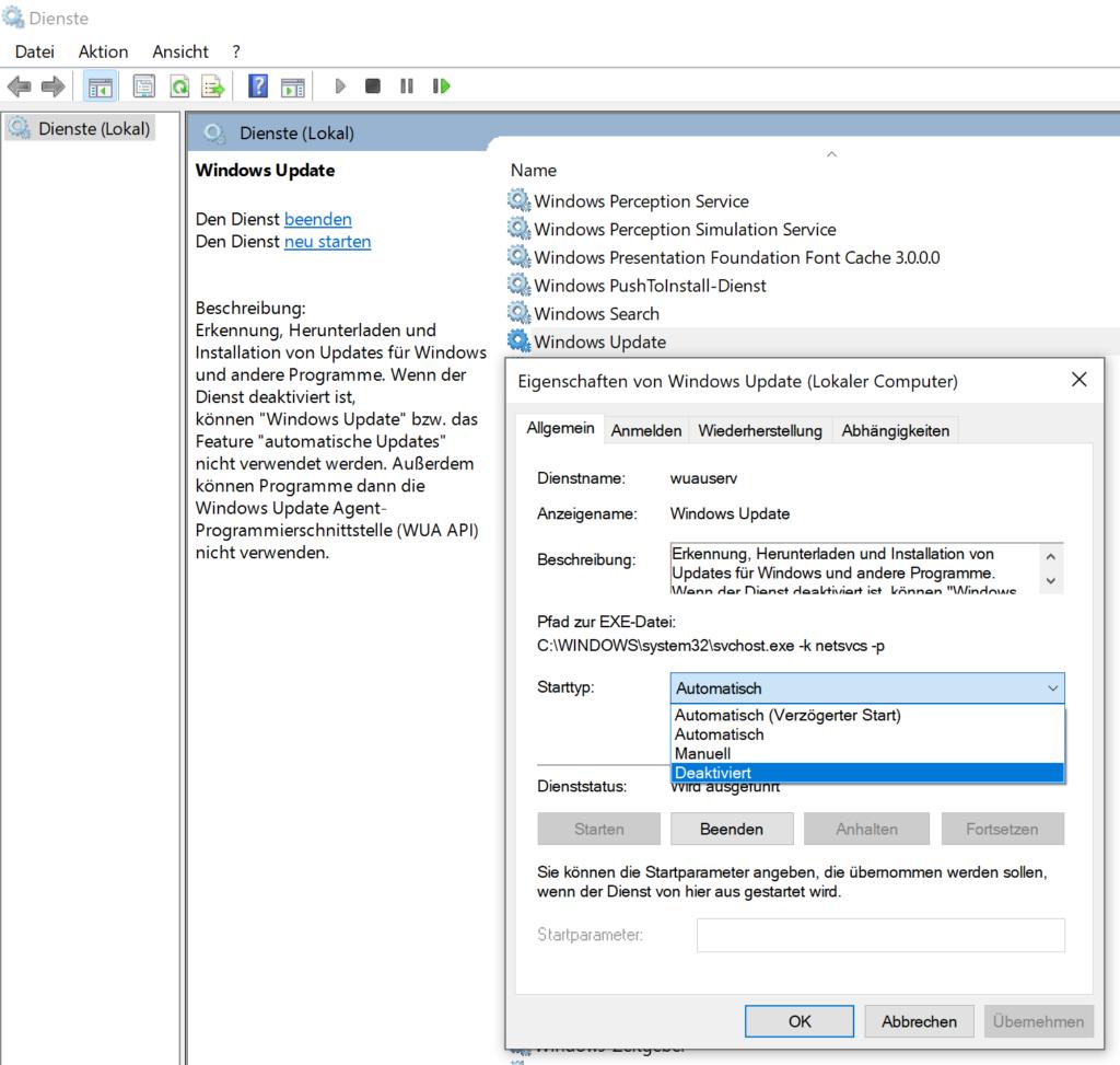 Windows Update Dienst vollständig aushebeln und abschalten